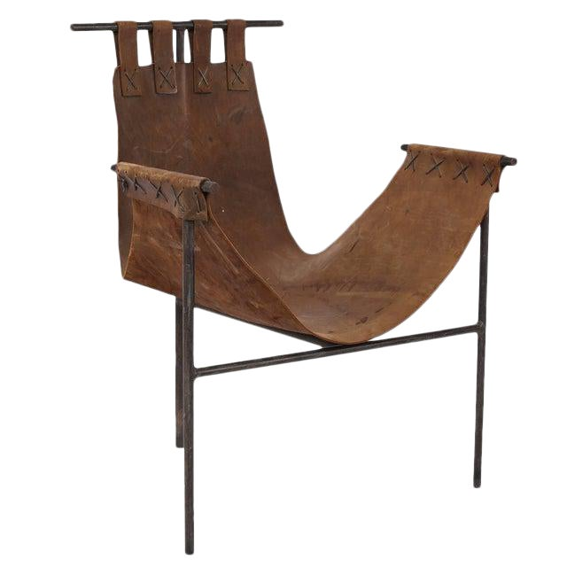 Cool 1970S Vintage Iron And Saddle Leather Sling Chair Cjindustries Chair Design For Home Cjindustriesco