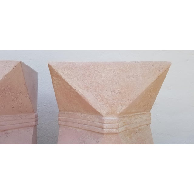 1970s Vintage Sculptural Geometric Plaster Pedestals- A Pair For Sale In Miami - Image 6 of 13