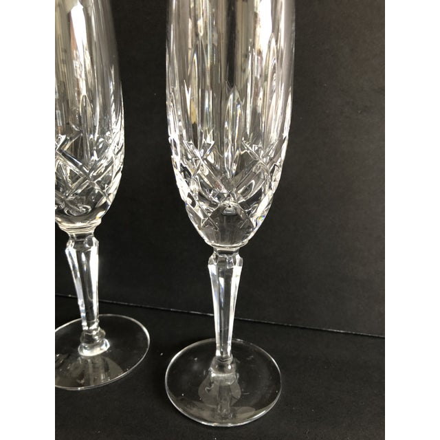 "Gorham modern fluted Crystal champagne glasses 8.65"" tall, set of 4."