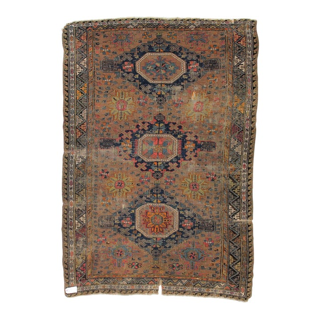 Antique Persian Sumak Kilim Rug- 5′ × 7′2″ - Image 1 of 6