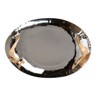 Shiny Nickel Tray, Horn Handles For Sale