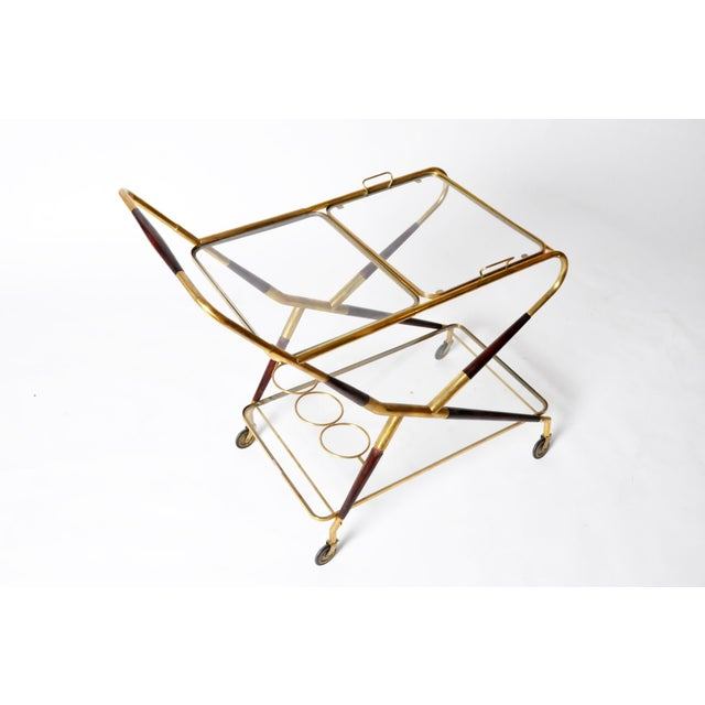 Mid-Century Modern Vintage Glass and Brass Bar Cart For Sale - Image 3 of 11