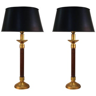 1970s Mid Century Modern Wood Column and Brass Greek Key Table Lamps - a Pair For Sale