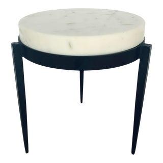 Arteriors Modern White Marble Kelsie Accent Table For Sale