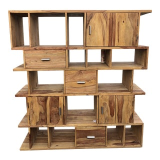 Country Solid Teak Wood Bookcase For Sale