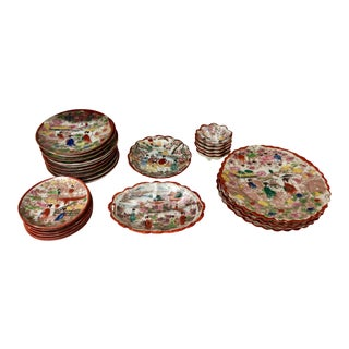 Japanese Hand-Painted Plates, Set/27 For Sale