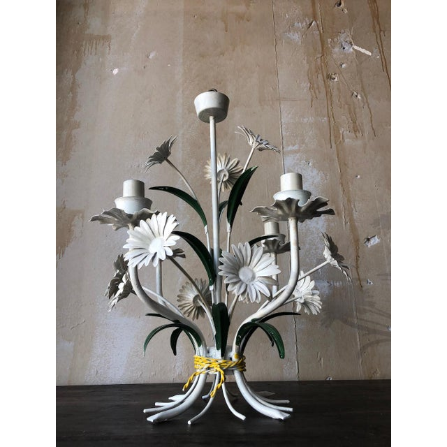 Metal Vintage Tole Chandelier With Daisies For Sale - Image 7 of 10