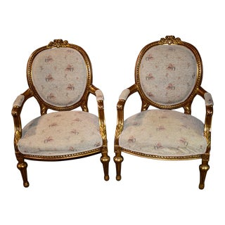 1960s Vintage Ornate French Style Bergere Chairs- A Pair For Sale