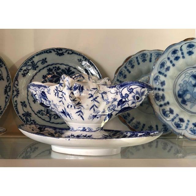 "French Blue ""Flora"" Porcelain Gravy Boat For Sale - Image 4 of 5"