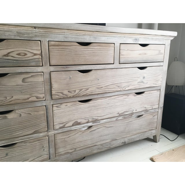 Custom White Washed Pine 10-Drawer Dresser - Image 3 of 11