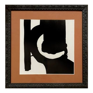 Contemporary Abstract Black and White Framed Painting For Sale