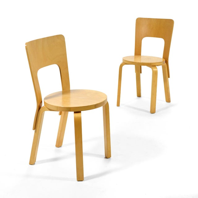 Alvar Aalto Pair of Model 66 chairs For Sale - Image 10 of 11