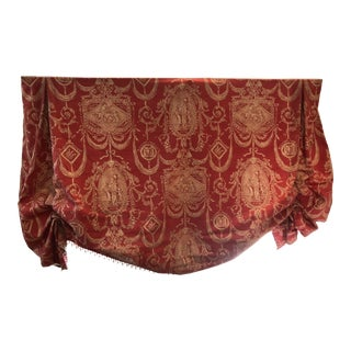 Custom Made Linen Valance in Orange and Gold For Sale