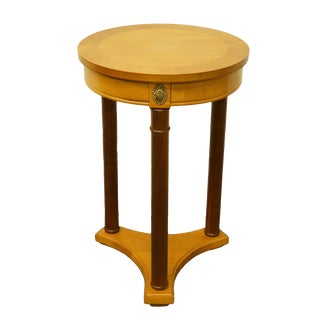 "20th Century Italian Stanley Furniture 16"" Round Two-Tone Accent Table/Plant Stand For Sale"