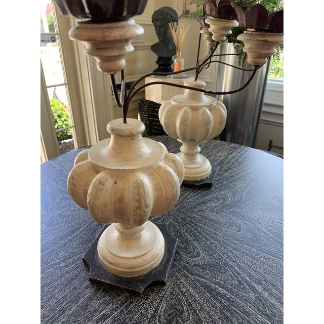 Italian Shabby Wood and Iron Candelabrums For Sale In New York - Image 6 of 7