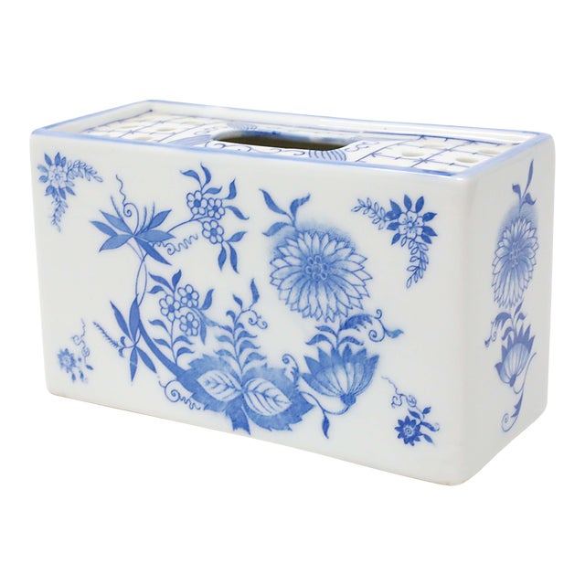 Japanese Blue and White Porcelain Flower Brick For Sale
