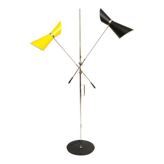 Double Articulating Arm Cone Floor Lamp - Image 1 of 8