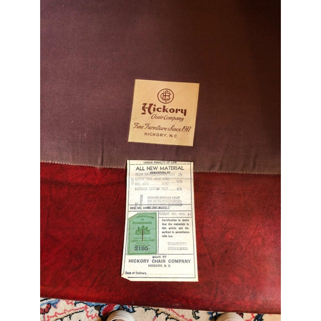 1950s Vintage Maroon Leather Wingback Chair For Sale - Image 12 of 13