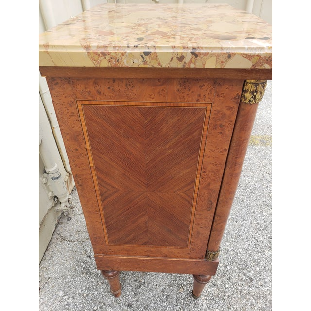 19th Century Empire Burl Walnut Marquetry Marble Top Antique Bedside Cabinet or Side Table For Sale In Austin - Image 6 of 13