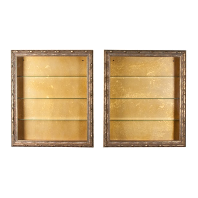 Wall-Mounted Giltwood Vitrines - Pair For Sale
