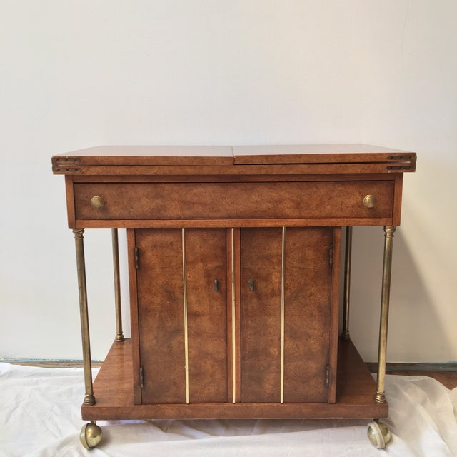 Burl Wood and Brass Bar Cart by Weiman - Image 2 of 9