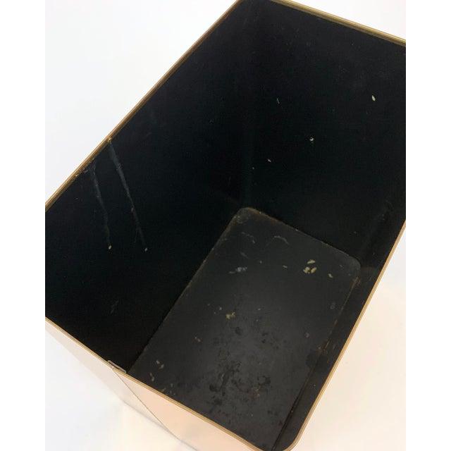 1960s 1960s Vintage Mid-Century Modern Brass / Gold Rectangular Waste Basket Trash Can For Sale - Image 5 of 7