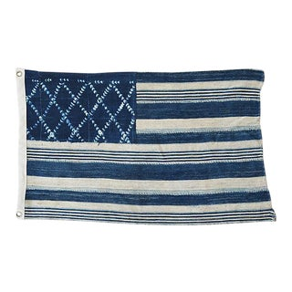 "26"" X 16"" Custom Tailored Blue & White Flag From African Textiles"