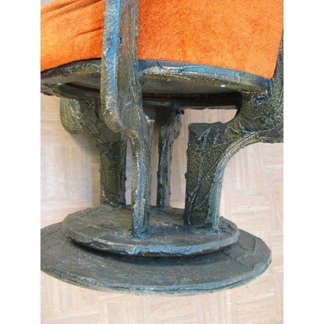 1950s Set Four Paul Evans Sculpted Bronze Chairs For Sale - Image 5 of 8
