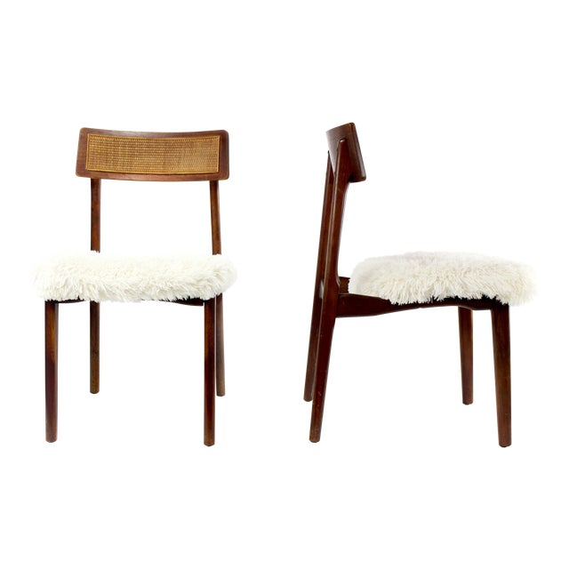 1950s Mid-Century Modern Shag and Wood Chairs - a Pair For Sale