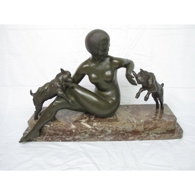 Late 19th Century Antique Maurice Guiraud Riviere Nymphe Et Chevreaux Nude Woman With Goats Bronze Sculpture For Sale - Image 13 of 13