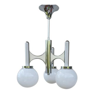 1970s Mid-Century Globes Chrome Chandelier Attributed to Sciolari For Sale