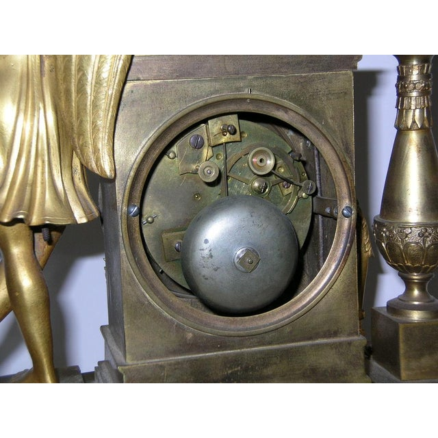 Gold 19th Century French Charles X Gilt Bronze Dore Figural Mantel Clock For Sale - Image 8 of 11