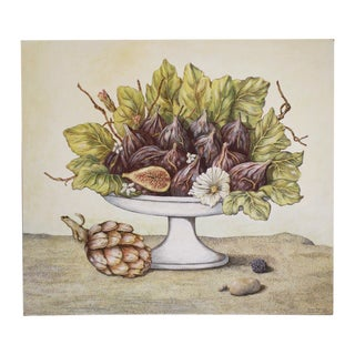 Figs With Artichoke Original Acrylic Painting For Sale