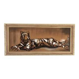 Vintage Mid-Century Carlo of Hollywood Abstract Tiger Painting For Sale