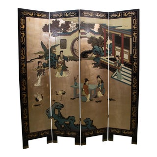 Mid-Century Chinese Coromandel Lacquer Folding Screen For Sale
