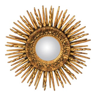 1920s Gilded Convex Sunburst Mirror For Sale