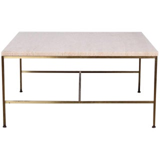 Paul McCobb Brass and Travertine Coffee Table