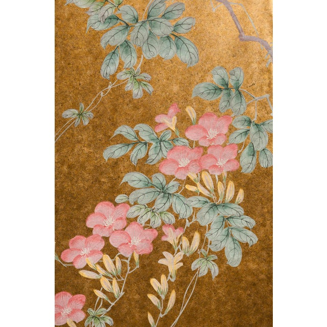 """Japanese """"Sparrows With Cherry Blossom"""" 4-Panel Paint on Gold Foil Chinoiserie Hanging Screen For Sale - Image 3 of 11"""