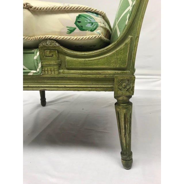 French Style Green-Painted Slipper Chairs - A Pair For Sale - Image 10 of 13