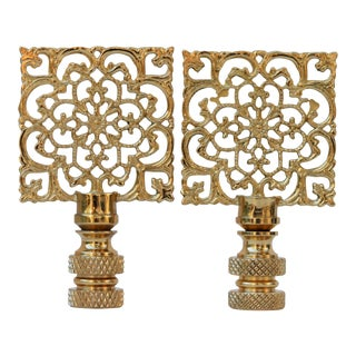 Solid Brass Square Filigree Finials - A Pair