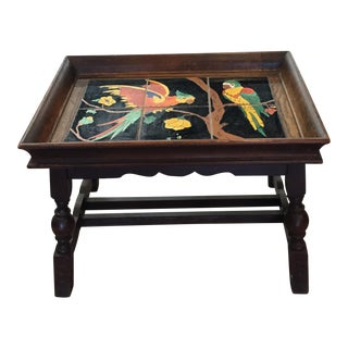 California Tile Top C1940 Carved Wood Accent Table For Sale