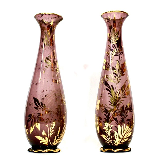 Monumental Murano Mid-Century Purple Vases With Gilt Foliate Design - a Pair - Image 4 of 4