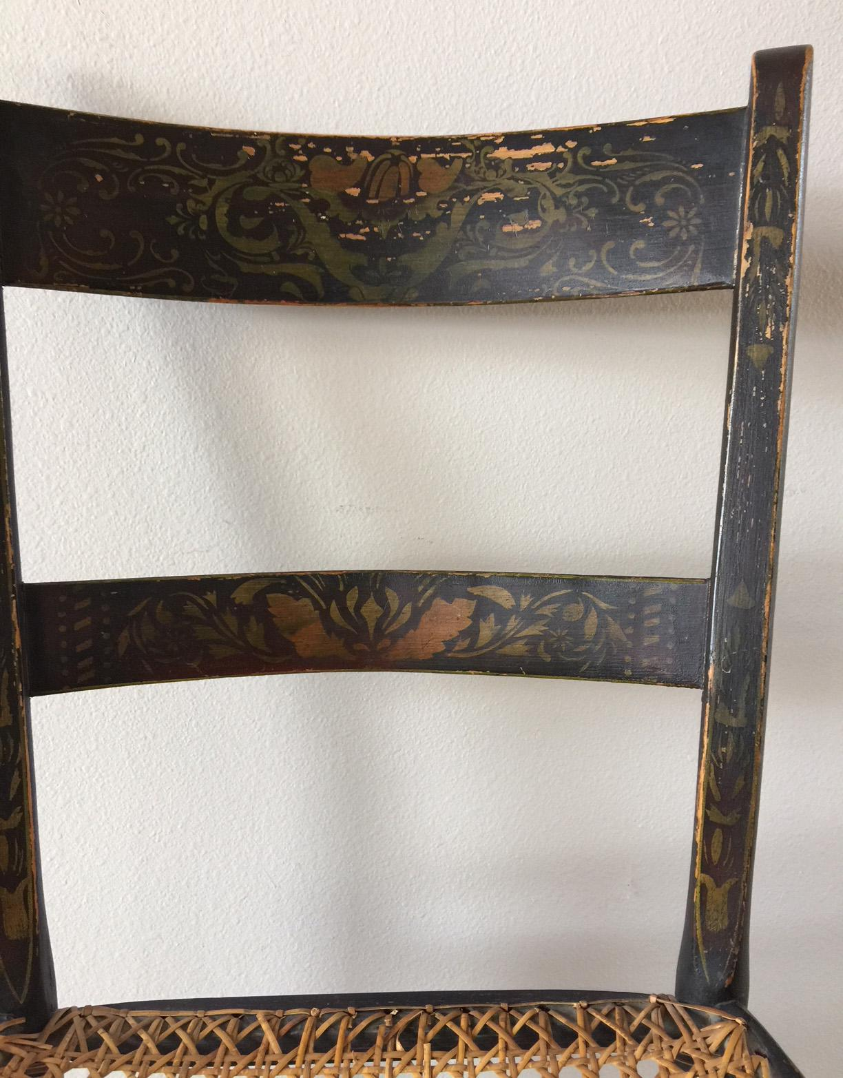 Antique Straight Back Cane Seat Chair   Image 3 Of 9