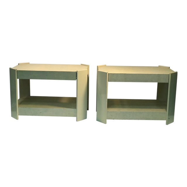 Modern Cream Lacquered Faux Goat Skin Night Stands - a Pair For Sale