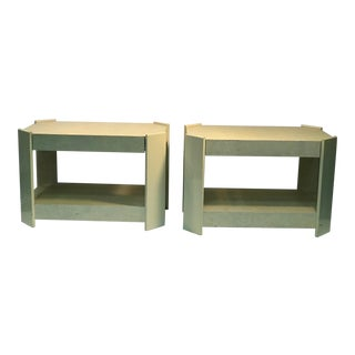 Pair of Cream Lacquered Faux Goat Skin Night Stands, manner of Karl Springer
