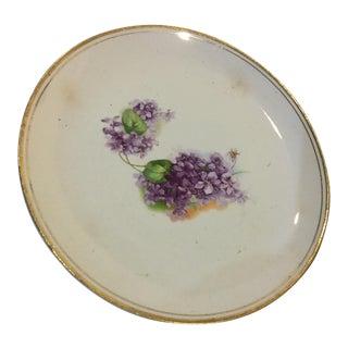 S Mann Porcelain Violets Plate For Sale