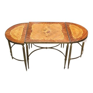 Mastercraft Inlay Wood Three Piece Coffee Table For Sale