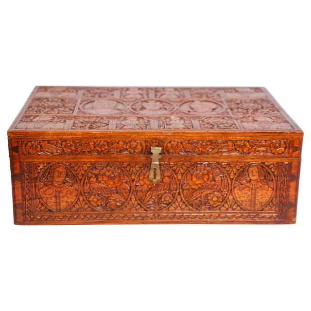 Large Early 19th Century Antique Hand Carved Wooden Decorative Box For Sale