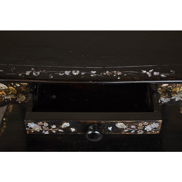 Black 19th Century French Colonial Mother of Pearl Table For Sale - Image 8 of 10
