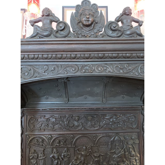 Brown 16th Century Antique High Gothic Pictorial Bench For Sale - Image 8 of 12